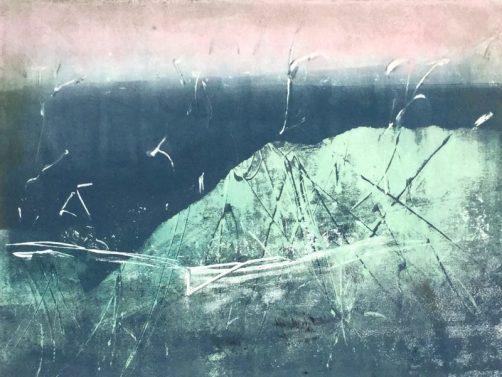 Nordic Winter 2, Monotypie auf Bütten 40 x 50 cm