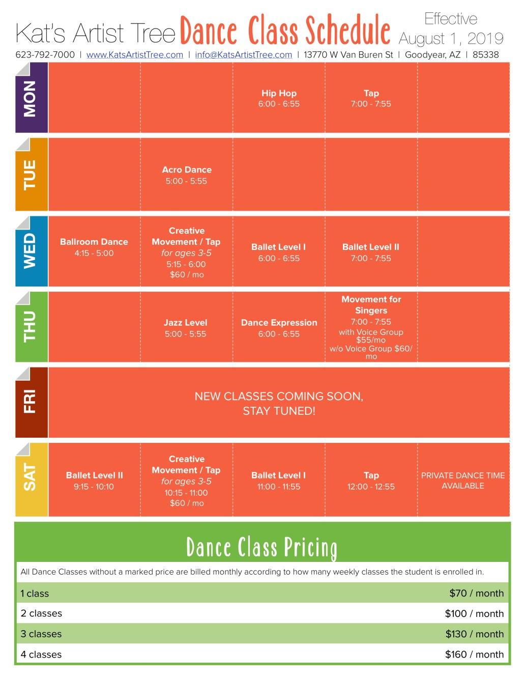 Dance Class Schedule 2019-08