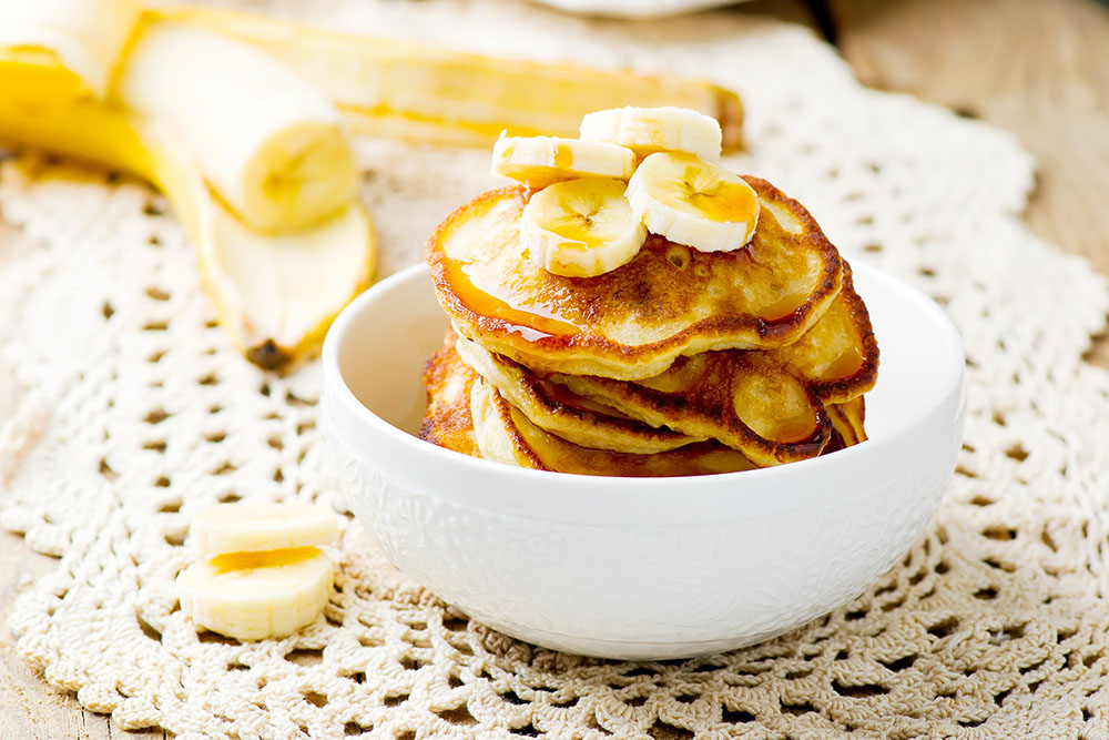 Banana Sour Cream Pancakes with Caramelized Bananas