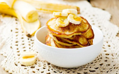Banana Sour Cream Pancakes with Caramelized Bananas