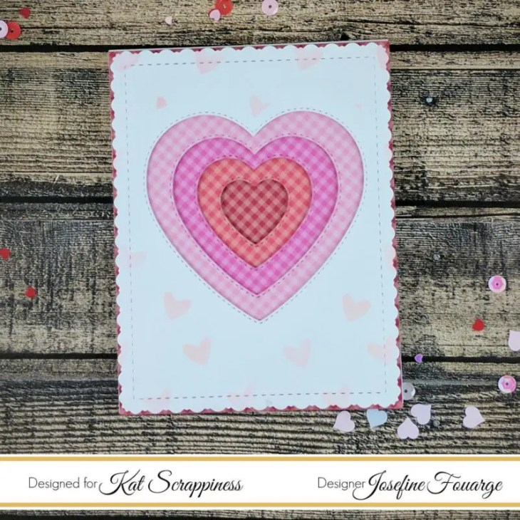Layered hearts Valentines card with Doodlebug paper and Kat Scrappiness die
