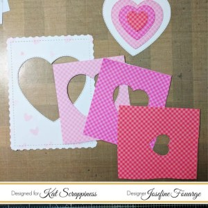 Hearts die cut in different sizes with Kat Scrappiness Double Stitched Heart Dies