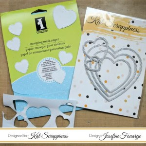Inkadinkado Masking Paper and Kat Scrappiness Stitched Hearts