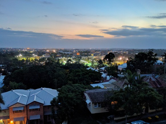 evening view of city from balcony