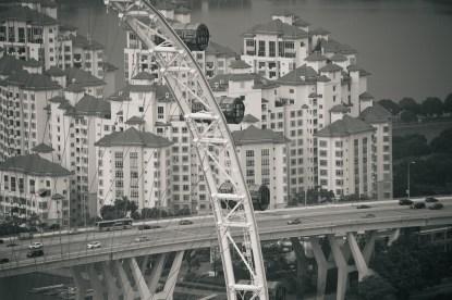 b&w photo of Singapore's large Ferris wheel