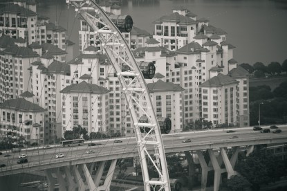 b&w photo of Singapore's large Ferris wheel