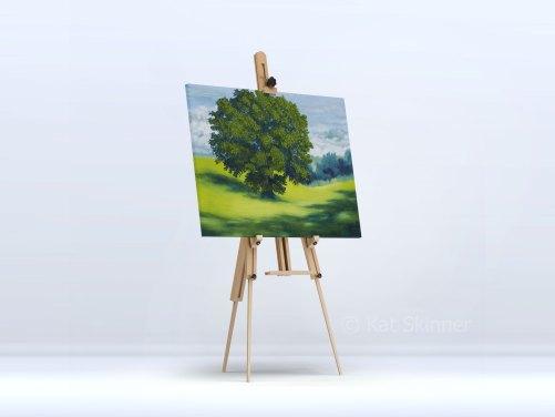 Tree In A Field on Easel, by Kat Skinner