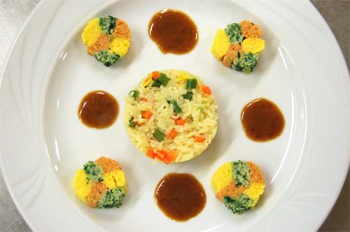 Mousse de merlan, riz macédoine