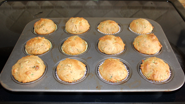 Muffins cooling in tin