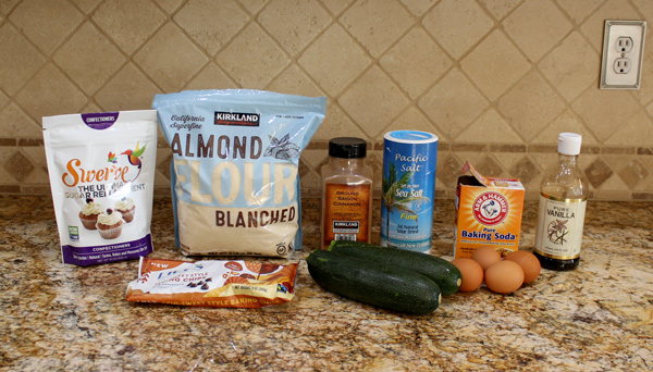 Ingredients for Keto Zucchini Chocolate Chip Bread