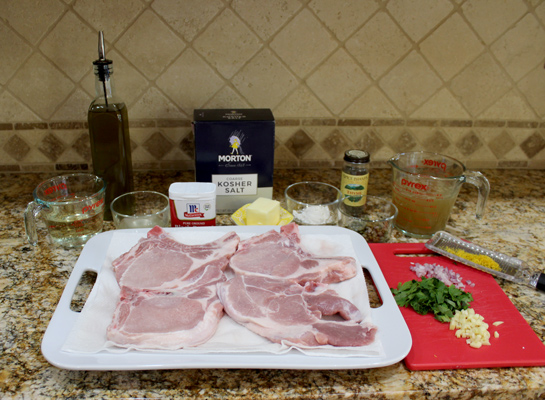 Ingredients for pork chops with lemony wine sauce