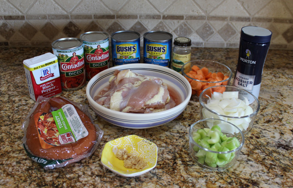 ingredients for chicken and kielbasa cassoulet