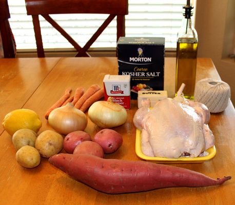 ingredients for sheet pan roast chicken with root vegetables