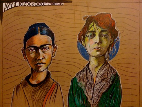 Claudia and I in our roles we played so often. Me in grief as Frida Kahlo. Claudia stoic and determined as Camille Claudel.