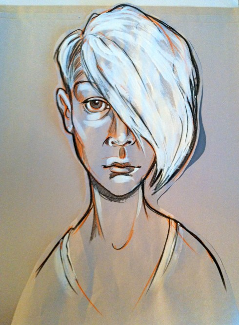 Kate. China marker, acrylic on newsprint