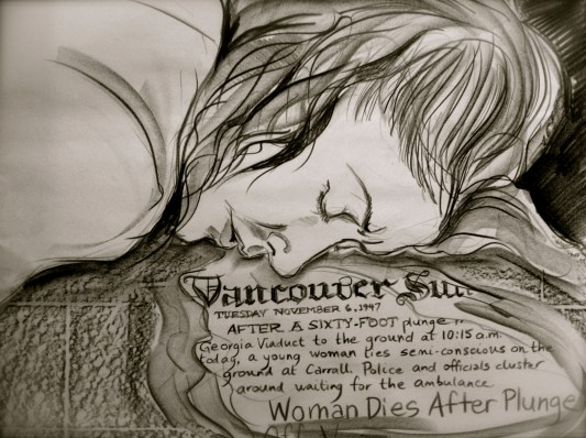C20- suicide, news article drawing