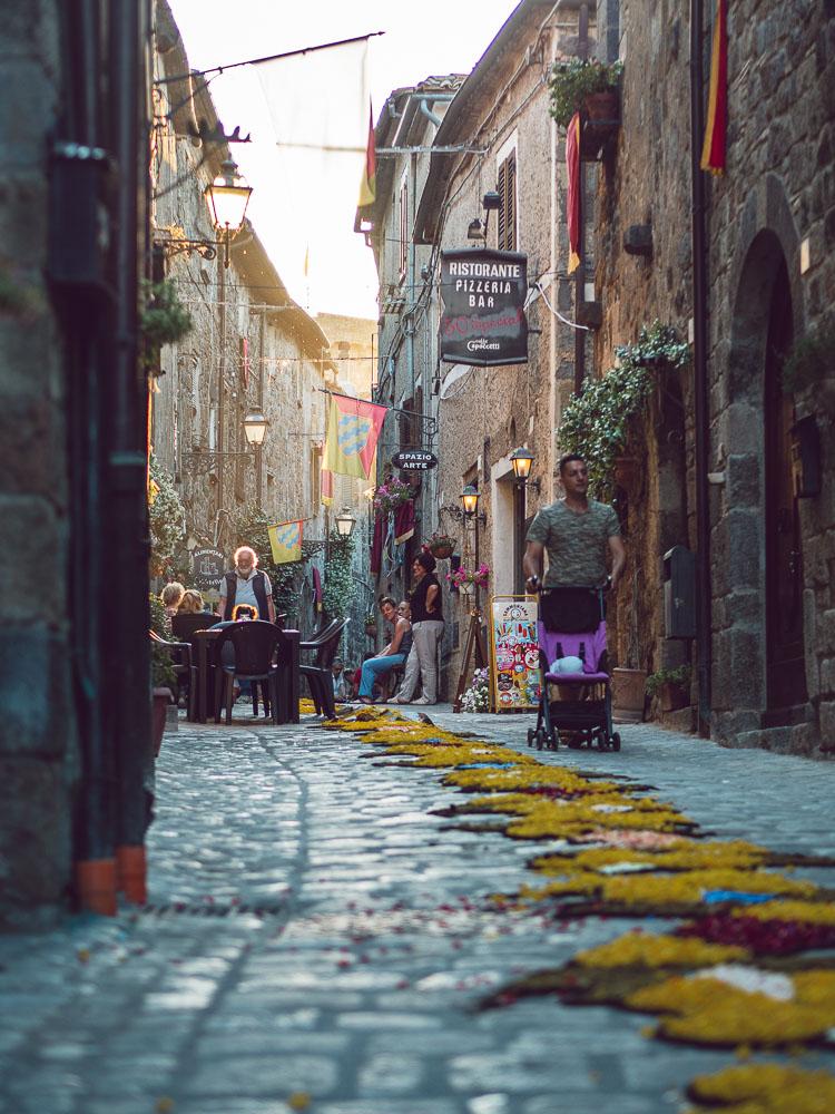street of bolsena during the infiorata