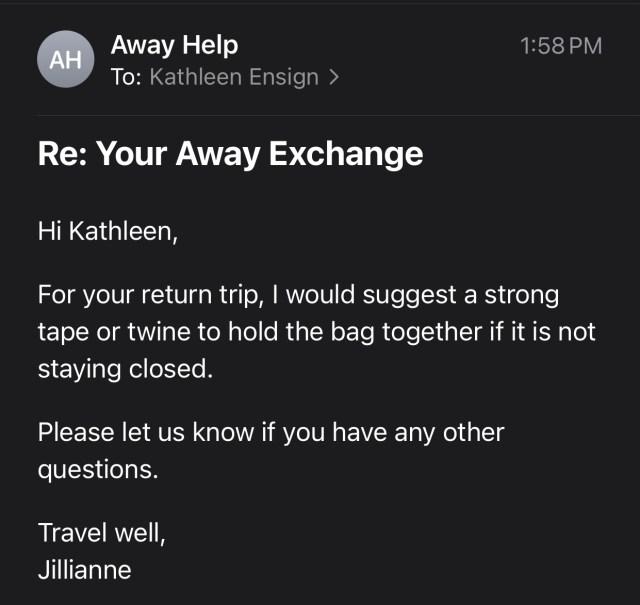 Away Luggage Review, AWAY customer service, AWAY Luggage, Broken away luggage