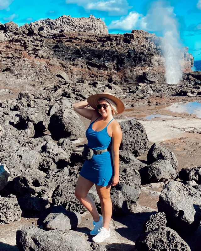 Fashion blogger KatWalkSF wears the Outdoor Voices Exercise Dress in Hawaii