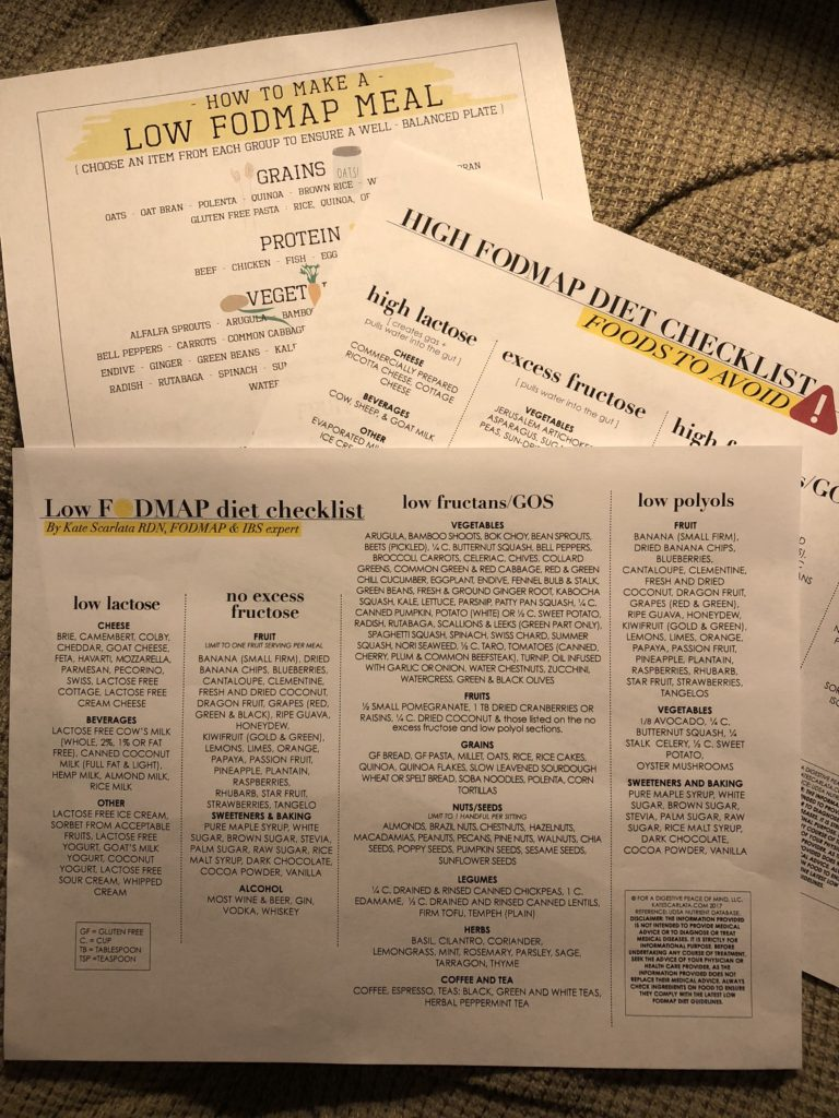 3 sheets of paper. 1 with a list of all Low FODMAP foods, 1 with High FODMAP foods to avoid and one that is any easy guide to putting a Low FODMAP meal together.