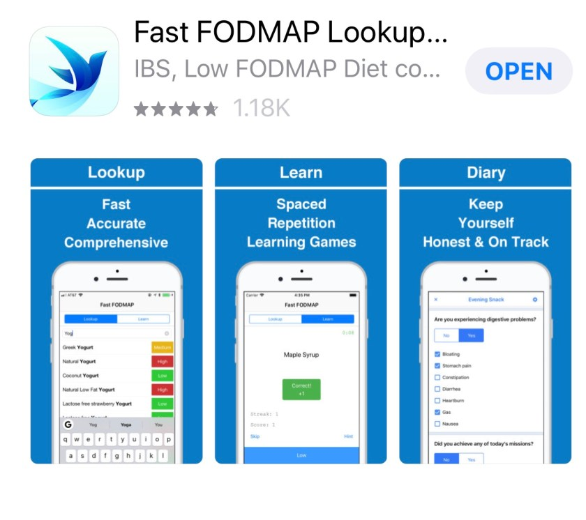 A picture of the Fast FODMAP Lookup App.