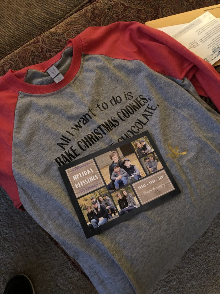 The t-shirt with Trudy's Christmas card on top of it.