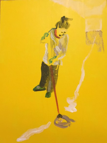 Mopping: Drawing a Line. 40x30cm acrylic on canvas panel 2019