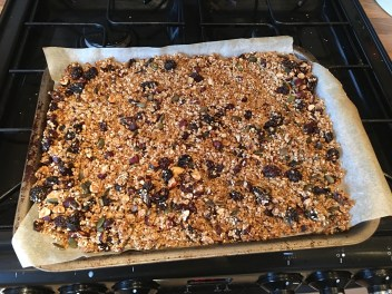 Granola fresh out of the oven