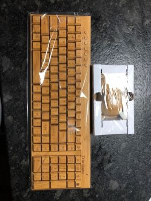 Wireless Natural Bamboo Wooden Keyboard Mouse Combo photo review