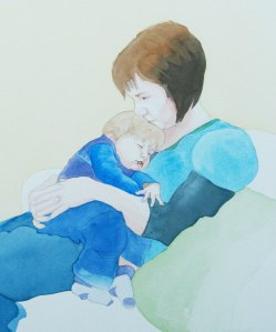 Watercolour Painting: Mother and Child