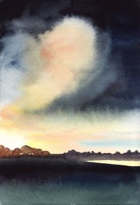 Watercolour landscape Painting: The Big Cloud, Port Meadow