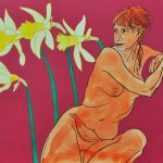 Daffs original Acrylic Ink Painting on Board by Katy Hood