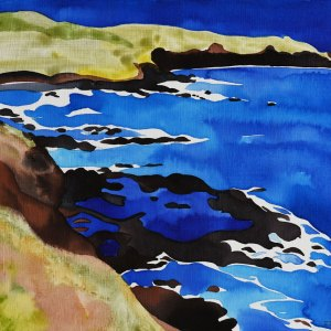 Australian Ultramarine Storm Bay Ink and Watercolour