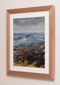 Dawn, Peaceful Wavelets. Watercolour & Gouache on Linen, Framed side view
