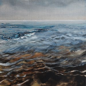 Dawn: Peaceful Wavelets. Watercolour & Gouache on Linen
