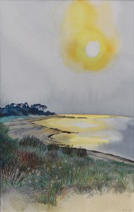 Sunset, Golden Sea. Watercolour & Artist's Pencil on Watercolour Paper, Framed