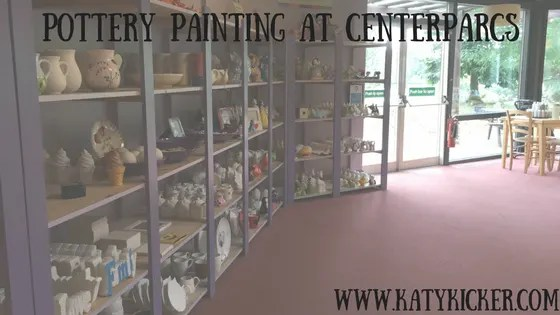 Pottery painting at Centerparcs - a photograph showing some of the items on offer to paint.