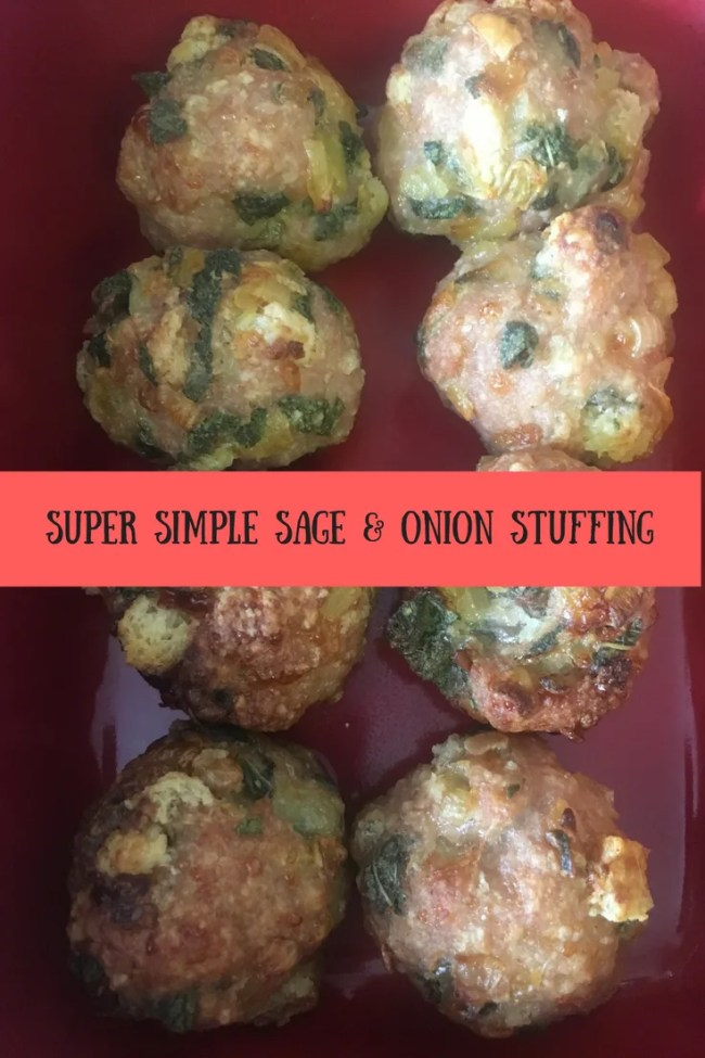 A super simple sage and onion stuffing. Takes just minutes to prepare and tastes delicious!