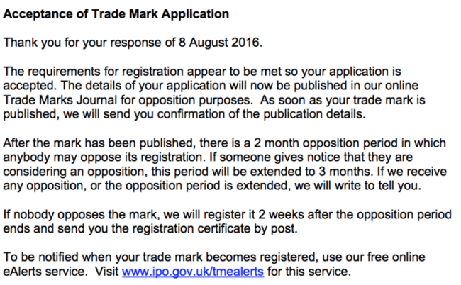 How to trademark a blog name - acceptance