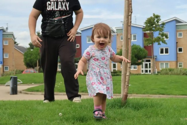 Daisy is 17 months old - Running with Daddy
