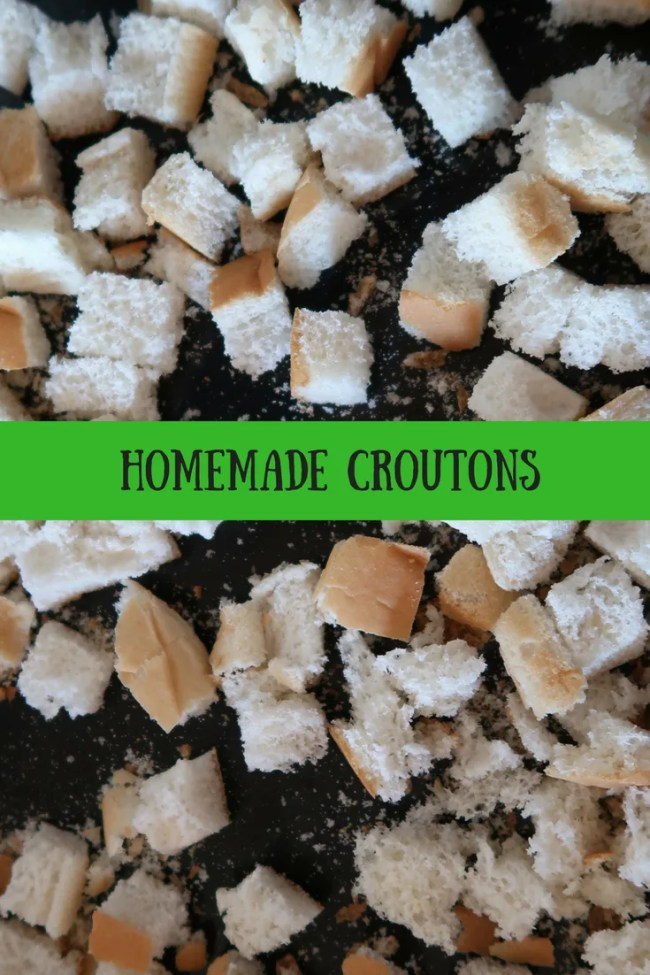 Homemade croutons. Use up leftover, stale bread to make delicious croutons. Add to soups or salads for a frugal way to make your meal tasty