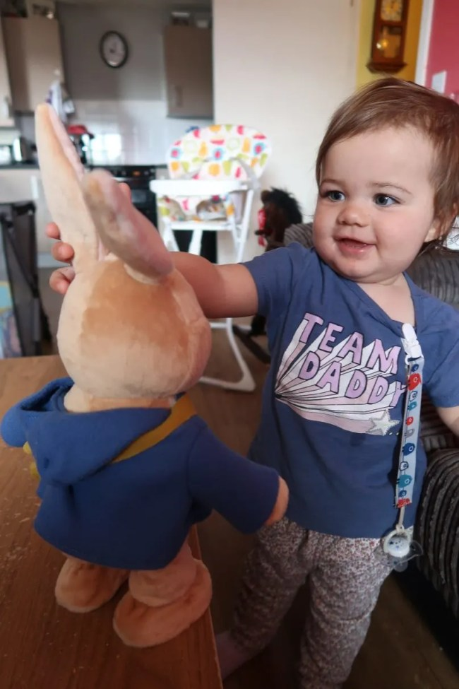 Peter Rabbit Hop With Me Plush - Daisy having a look at the wiggly ears