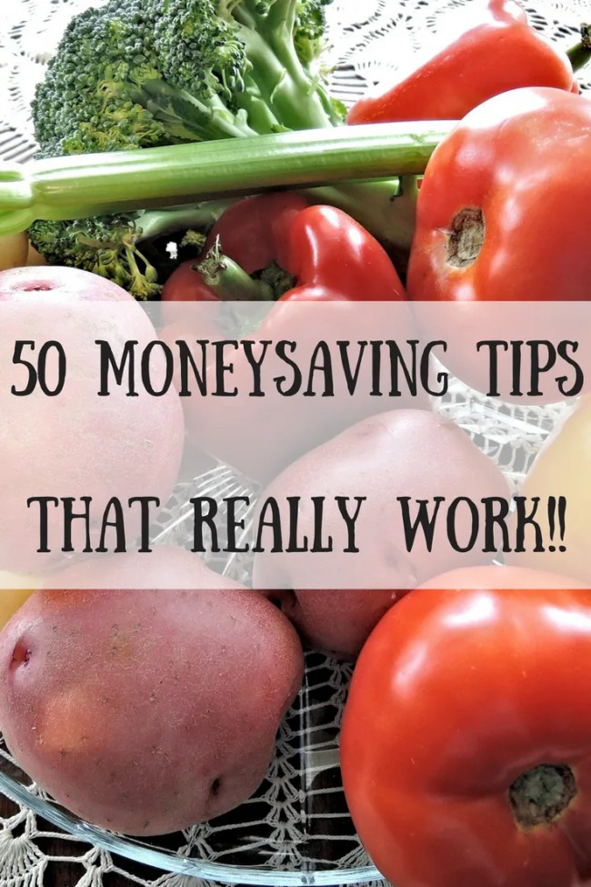 Potatoes, tomatoes, celery and broccoli in a bowl with text overlay that says 50 moneysaving tips that really work!