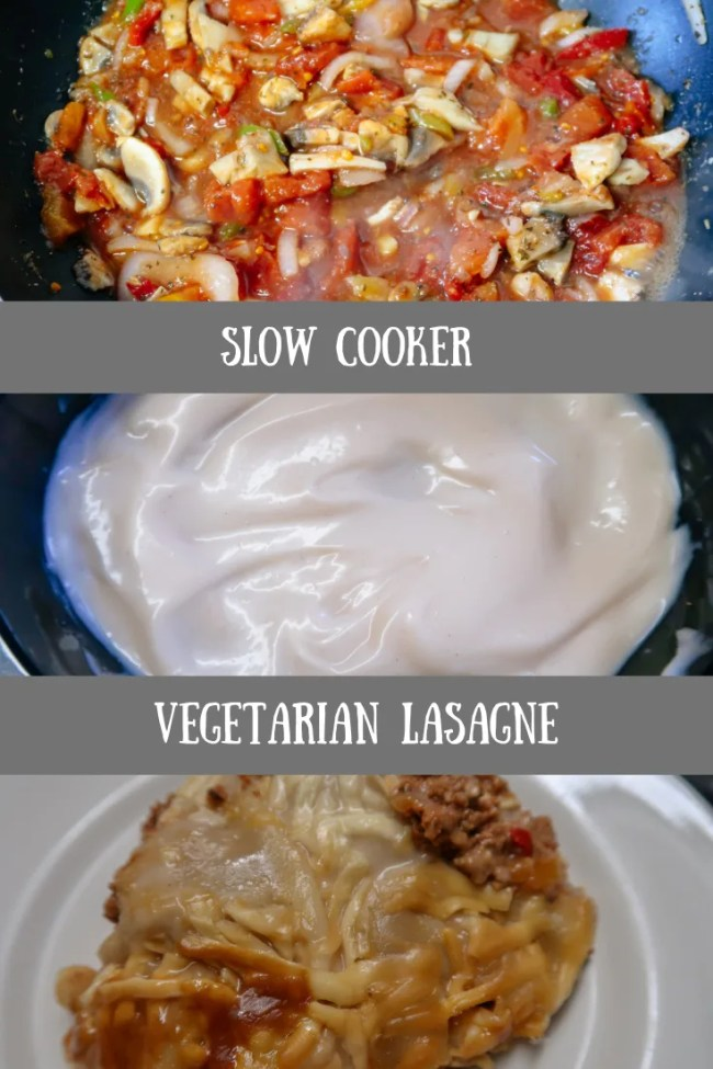 Slow cooker vegetarian lasagne. #slowcooker #lasagne #vegetarian #slowcookerrecipes #frugalfood
