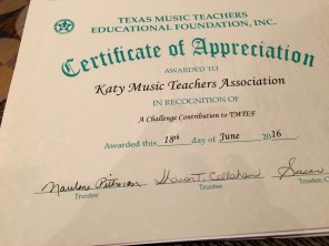 KMTA received a certificate of appreciation for the organization's donation to the Education Foundation Fund.