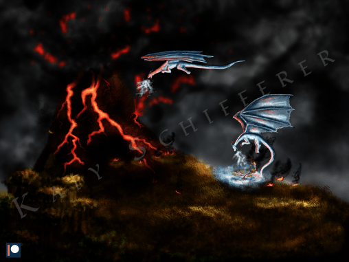 A drawing of an erupting volcano with two frost dragons attempting to cool it down.