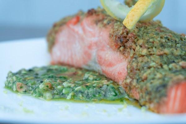 Cashew Pesto Baked Salmon