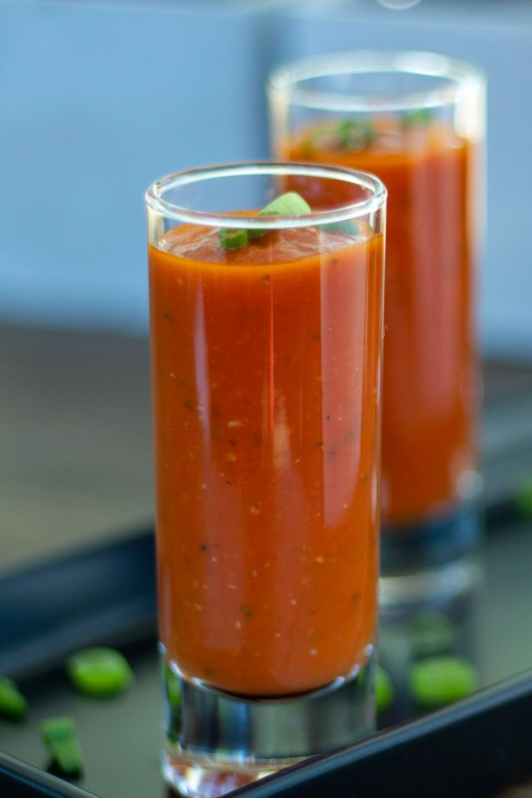 Tomato Basil Soup in shot glasses