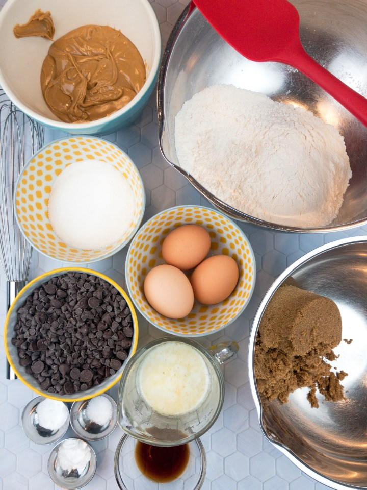 Mise en place for Peanut Butter Chocolate Chip Cookies