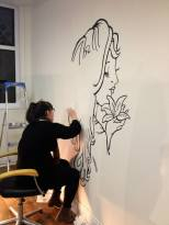 As part of the rebranding I hand painted the logo onto the wall to accentuate the bespoke service of the boutique salon.